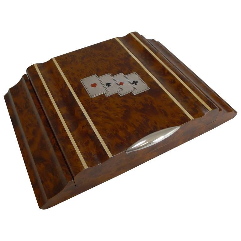 Italian Art Deco Amboyna & Silver Playing Card / Games Box c.1935
