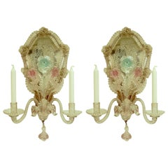 Pair of Early 20th Century Venetian Glass Twin Arm Mirror Back Wall Sconces