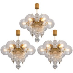 Set of Three Brass and Glass Chandeliers