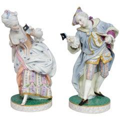 19th Century polychrome Bisque court figures, Vion et Baury in Paris