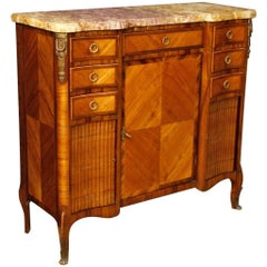 French Sideboard in Wood with Gilt Bronzes with Marble Top from 20th Century
