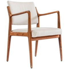Set of five Danish 1950s dining armchairs in  teak and fabric