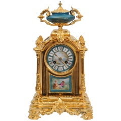 Ormolu and Sèvres Porcelain Boudoir Clock by Le Roy Et Fils, Paris