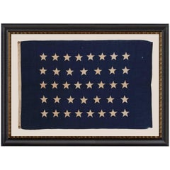 Antique American U.S Navy Jack with 38 Hand-Sewn Stars and a Rare Maker's Mark