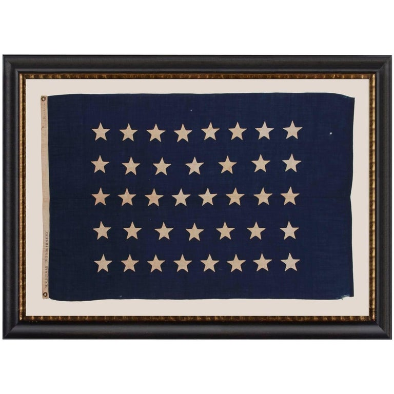 Antique American U.S Navy Jack with 38 Hand-Sewn Stars and a Rare Maker's Mark For Sale