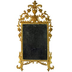 18th Century Italian Carved Paint and Parcel Gilt Mirror in Original Condition
