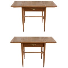 Pair of Vintage Lane and Side Tables with Expandable Sides
