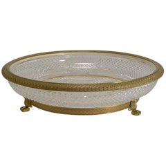 Large French Cut Crystal and Gilded Bronze Centrepiece Dish or Bowl c.1890