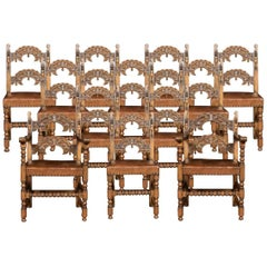 Set of Twelve Oak Framed Dining Chairs