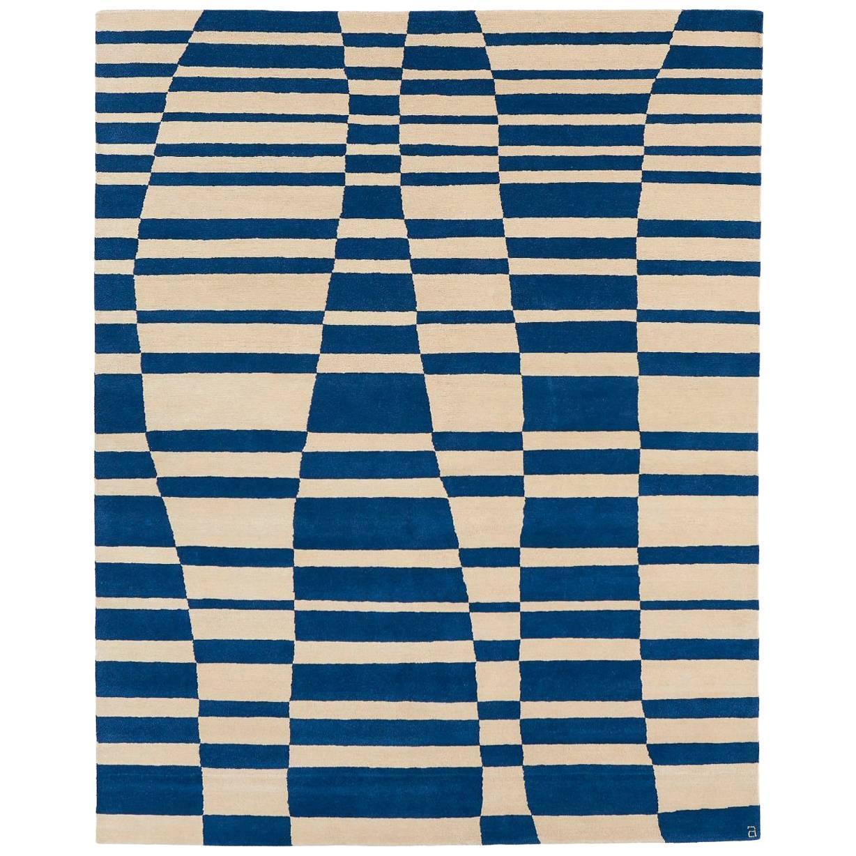 Angela Adams Mack, Blue Area Rug, 100% New Zealand Wool, Hand-Knotted, Modern
