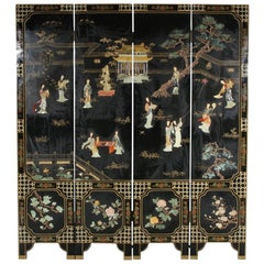 Asian Black Lacquered Four Panel Screen With Carved Stone Accents