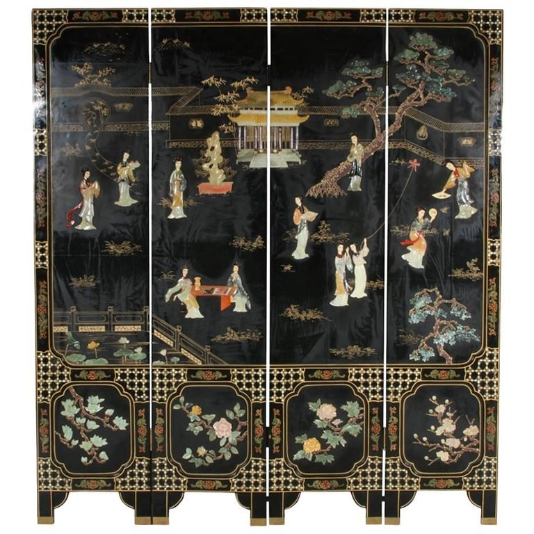 Mother Of Pearl Inlay Wooden Mini Folding Screen Asian: Asian Black Lacquered Four Panel Screen With Carved Stone