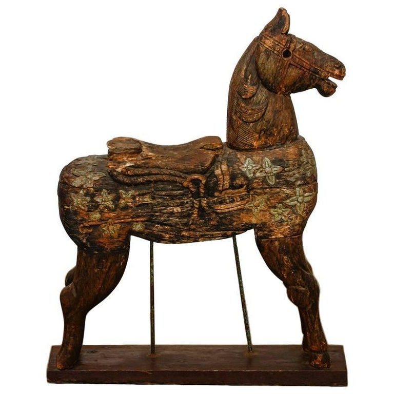 19th Century Wooden Polychrome Carved Mounted Temple Horse