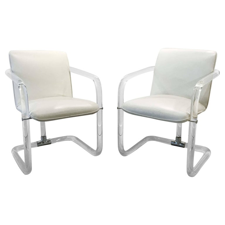Pair of Lucite Armchairs by Leon Frost