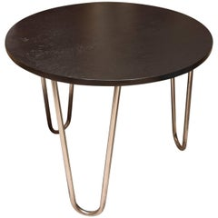 Bauhaus Chromed Coffee or Side Table in oak by Robert Slezak, 1930s, Bohemia