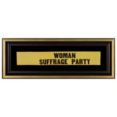 "Yellow Suffragette Sash Ribbon with ""Woman Suffrage Party"" Text"