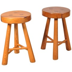Pair of Pine Wooden Tripod Stools, France 1960