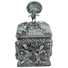 Antique Burmese Silver Tea Caddy, C.1900