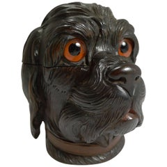 Large Antique Black Forest Novelty Inkwell, Dog, circa 1890