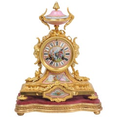 Ormolu and Sèvres Porcelain Boudoir Clock by Achille Brocot