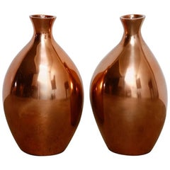 Pair of Asian Polished Copper Vases by Gump's