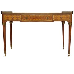 Large Louis XVI style black lacquered desk in mahogany, XXth century