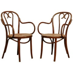 Pair of Thonet Style Bentwood and Cane Armchairs