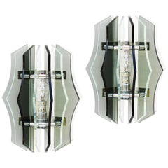 Pair of Wall Lights Sconces Smoked Glass Italian Veca Midcentury, circa 1970
