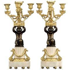 18th Century Louis XVI Marble, Ormolu and Patinated Bronze Candelabra