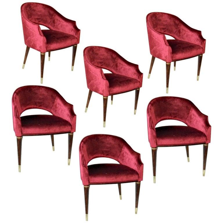 Set of 6 Red Velvet Armchairs, Midcentury Style, Luxury Details, Italia