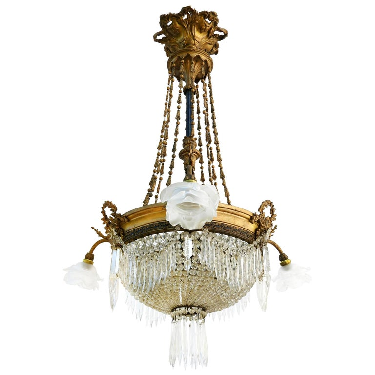 Belle Époque Chandelier French Crystal Gilt Bronze Rose Shades Late 19th Century