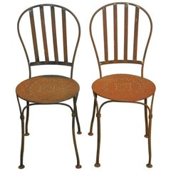 Pair of French Iron Bistro or Cafe Chairs