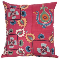 Antique Pillow Case Fashioned from a Silk 19th Century Suzani