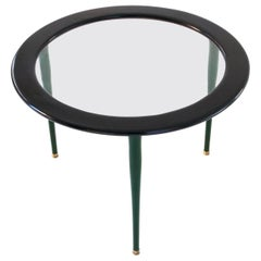 Italian Mid-Century Moder Black Green Glass Brass Wooden Low Coffee Table 1950s