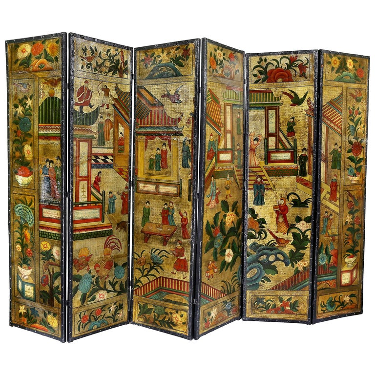 Dutch Leather Chinoiserie Decorated Six-Panel Screen