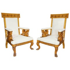 Pair Of  Italian Neoclassical Maple Armchairs Attributed Pelagio Palagi