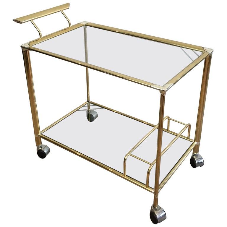 Midcentury Modern Gilt and Silvered Brass Bar Cart