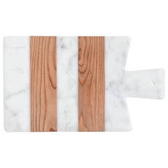 Small White Marble and Wood Cutting Board