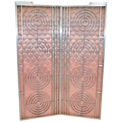 Pair of Moderne Interior Gates with Pink Paneled Upholstery