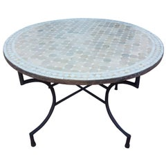 Round Moroccan Mosaic Table, Natural / White