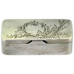 Antique Russian Silver Snuff Box, by D.P. Nikitin, Circa.1908-1917