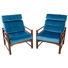 Pair of petrol blue Armchairs, 20th Century, Beech Wood, Poland.