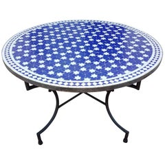Round Moroccan Mosaic Table, Blue / White