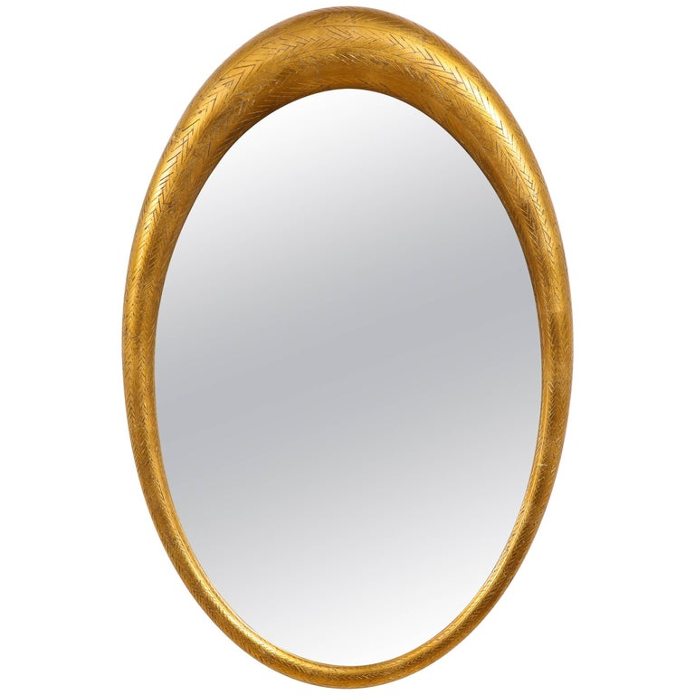 Gilded Wood Oval Modernist Mirror
