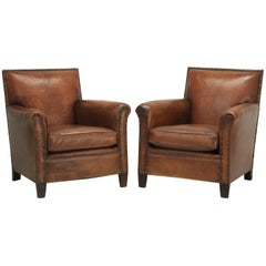 Pair of French Leather Club Chairs from the Art Deco Period