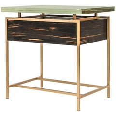 Frazier Side Table with Drawer with Thick Borosilicate Glass Top and Bronze Base