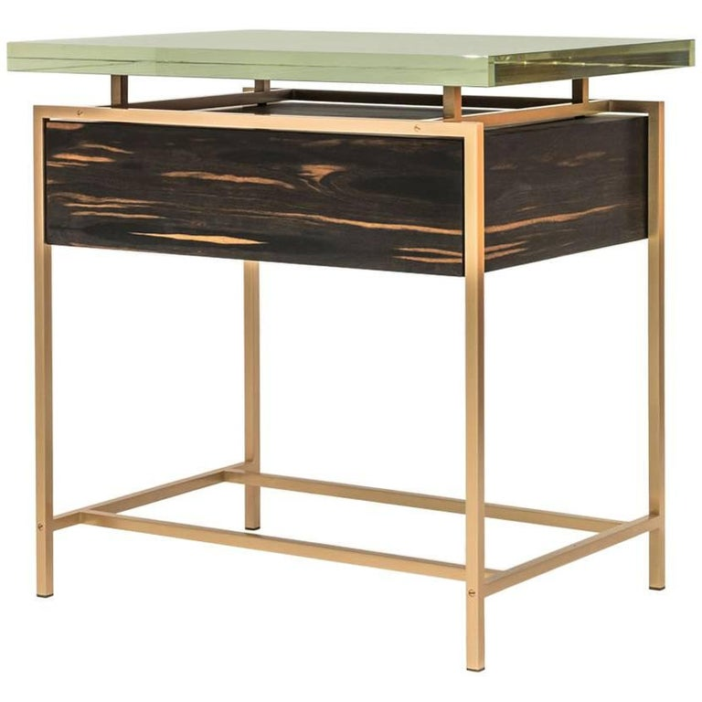 Frazier Side Table with Drawer with Thick Borosilicate Glass Top and Bronze Base For Sale
