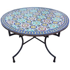 Moroccan Mosaic Table, Multi-Color Beldia Tina