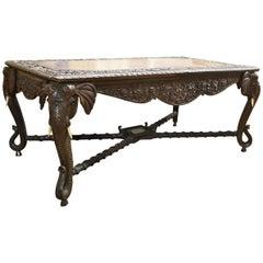Raj Carved Elephant Table