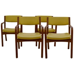 Set of Four Vinyl and Bentwood Thonet Armchairs